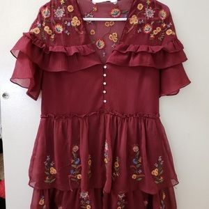 Zara red Embroidered floral ruffle dress